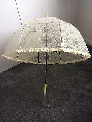 BRAND NEW Ivory Wedding Umbrella Dome Frilly Lace Automatic