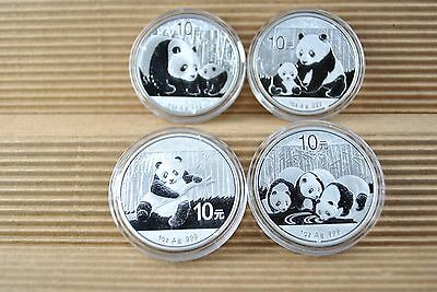 2011-2012- 2013-2014   Silver Chinese  Panda Coins  10 Yn *  Set of 4