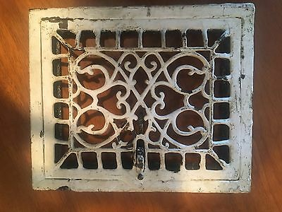 "Vintage Antique Cast Iron Ornate Wall Heat Register Grate 12"" X 10"""