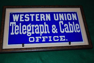 Western Union Telegraph & Cable office glass sign