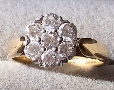 Ladies 1ct Diamond 18ct Yellow and White Gold Cluster Ring