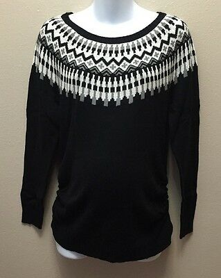 Old Navy  S M  Sweater Maternity Black Fair Isle Nwt