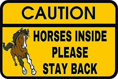 CAUTION HORSES INSIDE Horse Trailer Back Door Sign Vinyl Decal Sticker COLOR