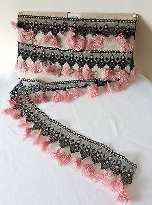 Antique 1800s French Black Silk Brussels Lace Corset Trim With Pink Tassels WOW