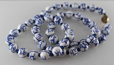Vintage Chinese Blue & White Porcelain Bead Necklace birds Sterling Clasp