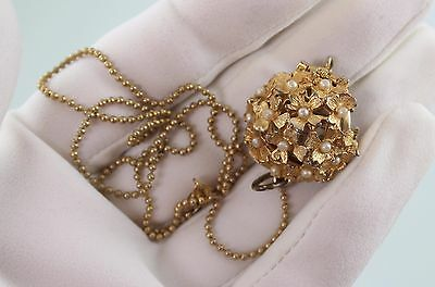 Working VINTAGE LADIES Pearl CRAWFORD SWISS  PENDANT NECKLACE WATCH & CHAIN