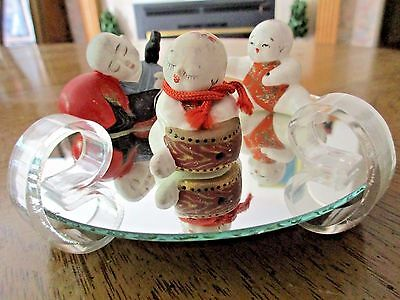 Vintage Set 3 Asian Chinese Babies Figurines Porcelain Ribbon Mirror Stand