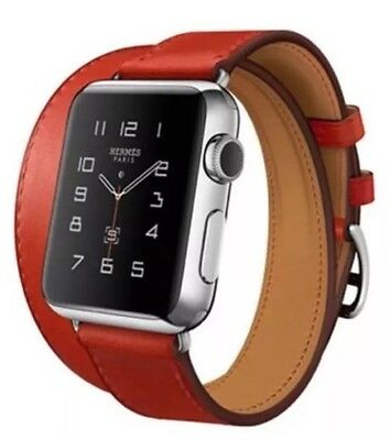 Apple Watch Double Tour Strap For iWatch 42mm Capucine Red Hermès Style