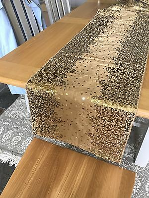 Next Gold Sequin Table Runner 40cm X 220cm Unused With Tags