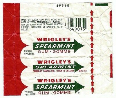 Vintage 1980's Canadian Chewing Gum Wrapper Wrigley's Spearmint