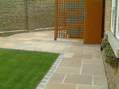 Natural Indian Sandstone Paving 22mm Calibrated Raj Green Patio Pack 15.3m2Pack