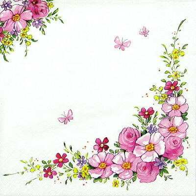 6x Cocktail 25x25cm Paper Napkins for Decoupage Party Craft Cute Flowers