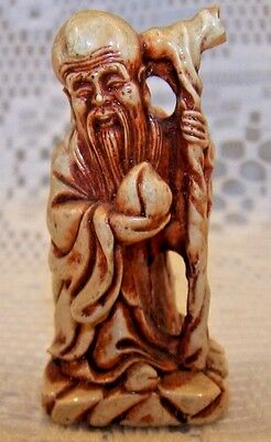 Vintage Old Chinese Man Figurine Mini Hand Carved Statue