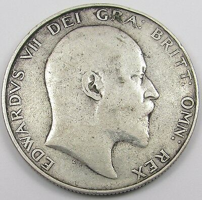 KING EDWARD VII SILVER HALF-CROWN COIN dated 1909