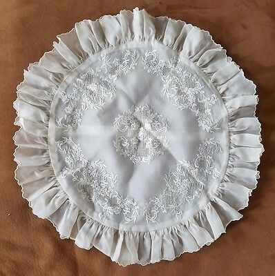 Vintage Embroidered Round Pillow Sham Normandy French Boudoir