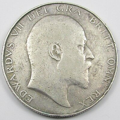 KING EDWARD VII SILVER HALF-CROWN COIN dated 1910