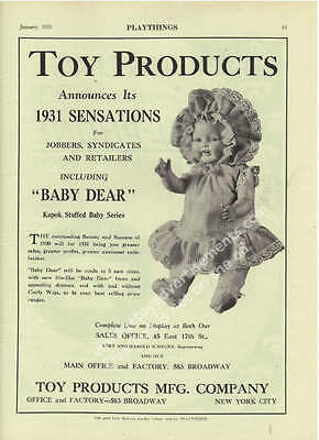 1931 Baby Dear Doll Kapok Stuffed Baby Series by Toy Products MFG. Toy Ad
