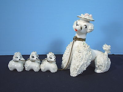 Poodle Figurines Mom and 3 Puppies Chained Spaghetti Fur White Vintage 1950s