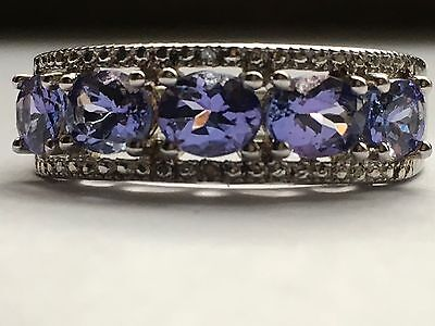 Beautiful Solid Silver Hallmarked Precious Tanzanite Set Ring FreeUKP&P(Relisted