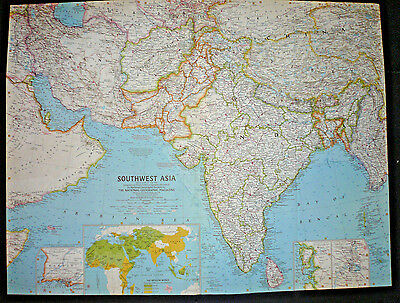 """Vintage 1963 SOUTHWEST ASIA Map National Geographic 25""""x19"""""""