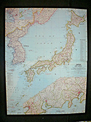 """Vintage 1960 JAPAN AND KOREA Map National Geographic 25""""x19"""""""