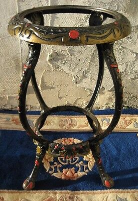 ORNATE ANTIQUE 1800s CAST IRON GARDEN PLANTER TABLE 2-TIER STAND HAND-PAINTED