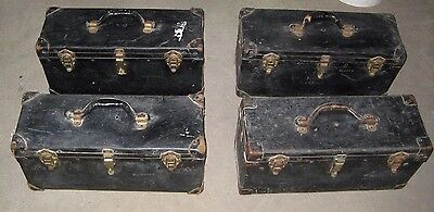 Lot of 4 Vintage Bell Systems B Telephone Lineman's Repair Tool Box Leather