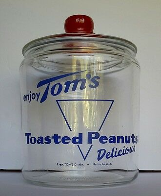 Vintage Tom's Toasted Peanuts Glass Jar - Delicious - Counter Top Store Display