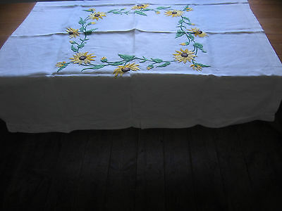 Vintage Linen Tablecloth Hand Embroidered Raised Circle Of Sun Flowers