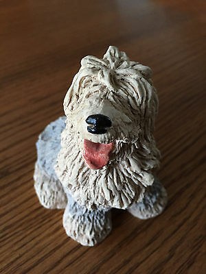 """Vintage Old English Sheepdog Figurine-Stone Critter - Circa 1980's Approx 3.5"""""""