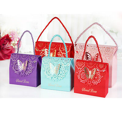 10pcs Upscale Hollow Butterfly Handbag Style Wedding Candy Box Birthday Bags