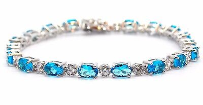 Sterling Silver London Blue Topaz And Diamond 7.86ct Tennis Bracelet (925)