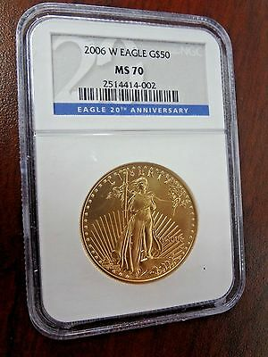 2006 W Gold Eagle $50 NGC MS 70 20th Anniversary