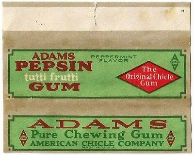 !!EXTREMELY RARE!!! Vtg 1910's American Chicle Adams Pepsin Chewing Gum Wrapper