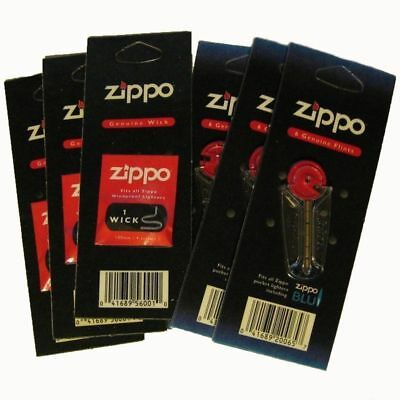 6 Packs 100% Genuine Zippo Lighter Flints And Wicks Set Genuine Original New !!!