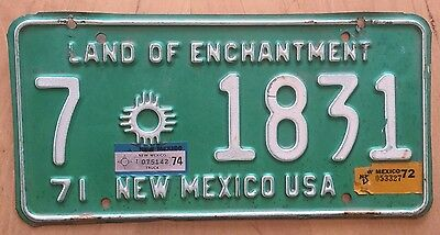 "1971 1972 1974 New Mexico Truck License Plate "" 7 1831 ""  Dona Ana County"