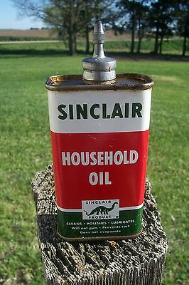 Vintage Sinclair Household Oil Can Lead Top 4 Ounce Can ~ Empty