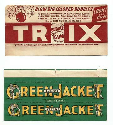 RARE!! (2) Vtg 1940's Chewing Gum Wrappers Dietz Trix & Green Jacket