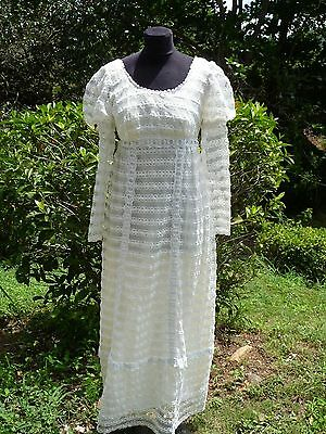 P&P  vintage 70s  White Ball Bridal Wedding Jane Austen Regency Dress Gown