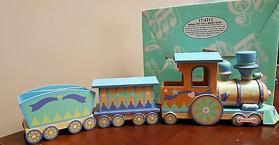 """VINTAGE SAN FRANCISCO Wooden Train MUSIC BOX  """"Put On A Happy Face"""" Baby Shower"""