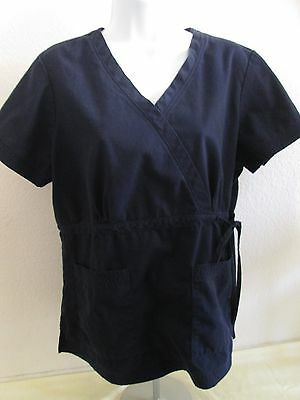 Women's KOI Short Sleeve Scrub Top/Shirt with Tie Side - Size L - Navy Blue