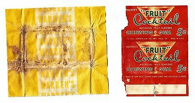 !!!EXTREMELY RARE!!! (2) Vtg 1943 American Chewing Gum Wrappers Warren's Bowman