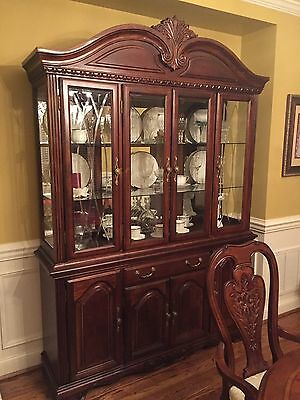 Dining room set 8 chairs and table with glass china cabinet 2 leaves
