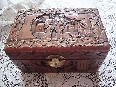 Vintage Chinese Carved Camphor Wood Box Chest Asian Design Figures Pagoda 8X5