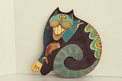 Decorative Cat Kitty Wall Plaque Hanging Buggy Whip Studio Colorful Cat Eating