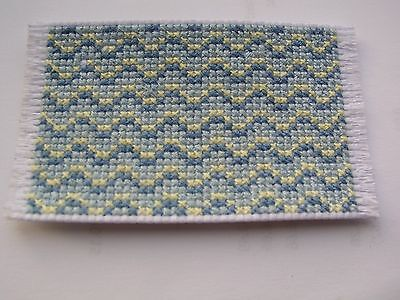 Dolls house rug cross stitch blue and pale yellow