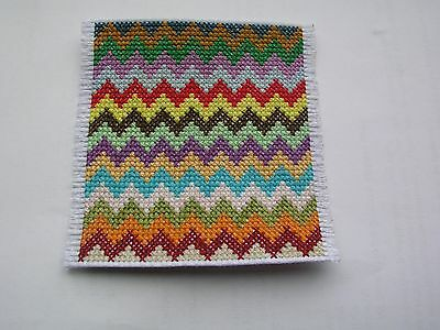 Large Dolls house rug cross stitch handmade multicoloured zig zag
