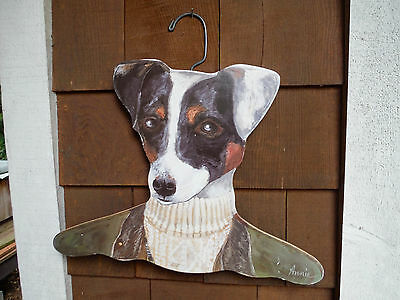 Jack Russell Terrier Dog Painting Wooden Clothes Hangar Annie Stupell Fun Gift!
