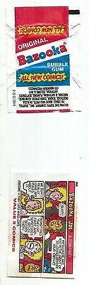 Vintage American (2) 1990 Bubble Gum Wrappers Bazooka Topps