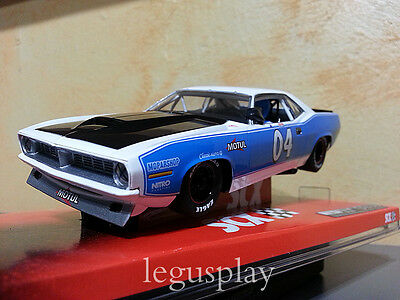 Slot SCX Scalextric A10048X300 Plymouth AAR Cuda White & BLue - New